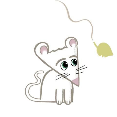 A mouse character made from basic shapes