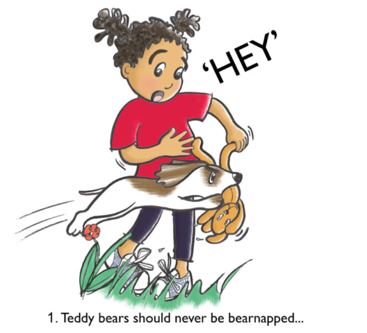 A puppy jumps up and takes Molly's teddy bear - illustration from a picture book I've written.
