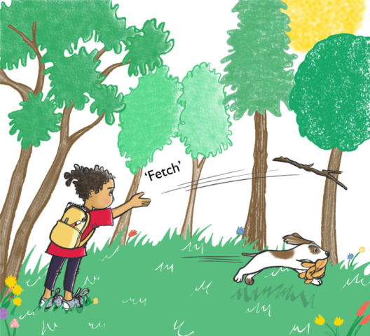Molly takes control of the story by throwing a stick to the pesky dog.