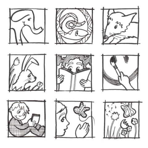 Some 1 inch square ink drawings drawn for a daily drawing challenge.