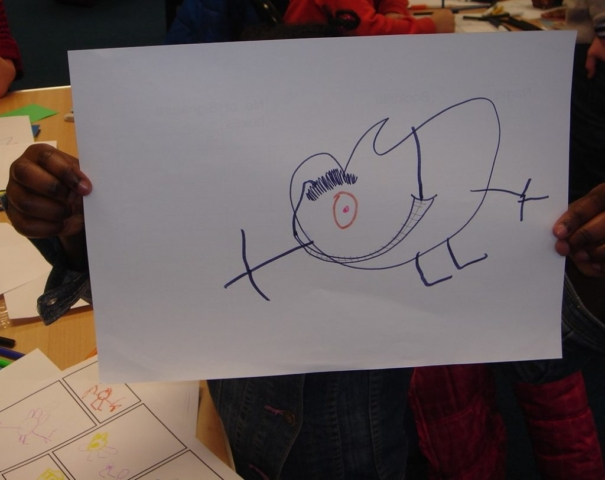 A character created during a drawing game.