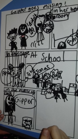 An exciting comic strip being created