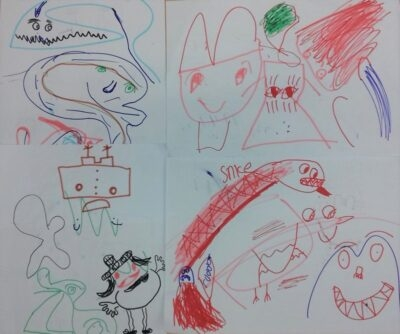 Lots of original character sketches from a year 3 workshop