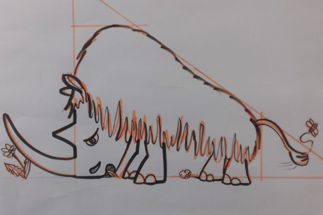 The woolly rhino I created to teach step-by-step