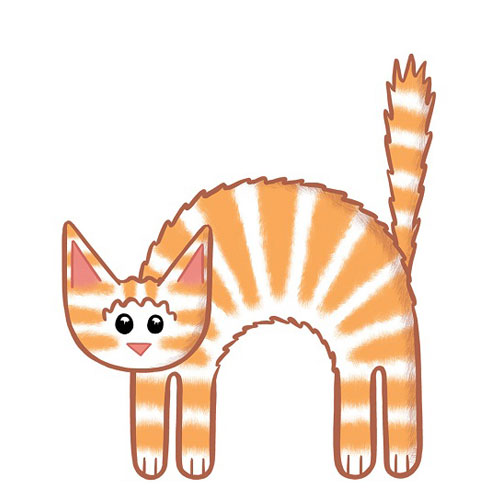 Cute illustration of a cat with back arched