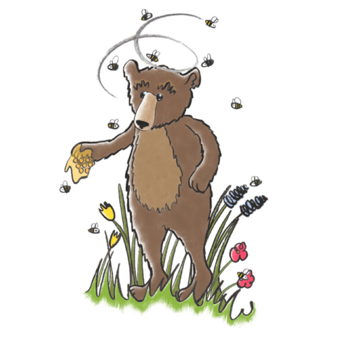 An illustration of a confused Black Bear with honeycombe on his hand and a swarm of bees around him.