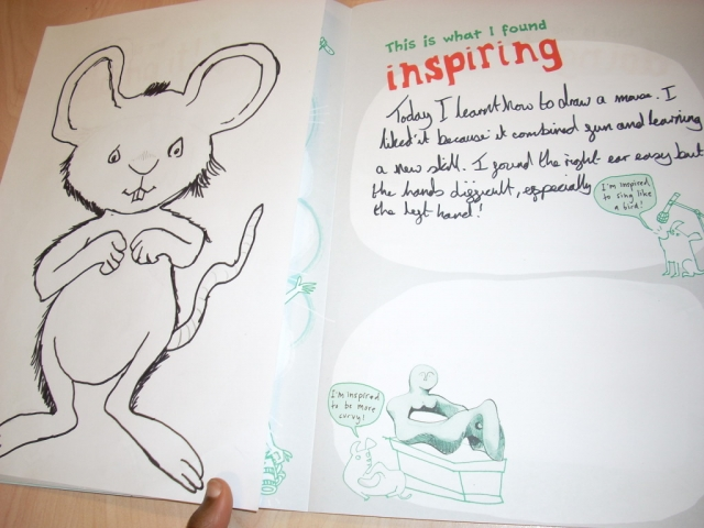 Page from an Arts Award log book and drawing of Ishmael mouse