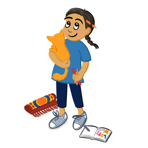 Colour illustration of a girl holding a cat and colouring pencils with a sketch book next to her