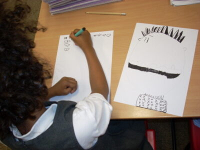 A year 1 child creating characters