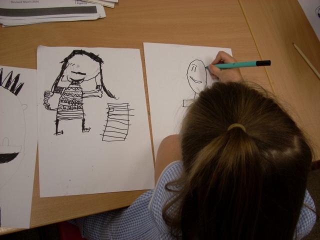 A pupil creating original characters.