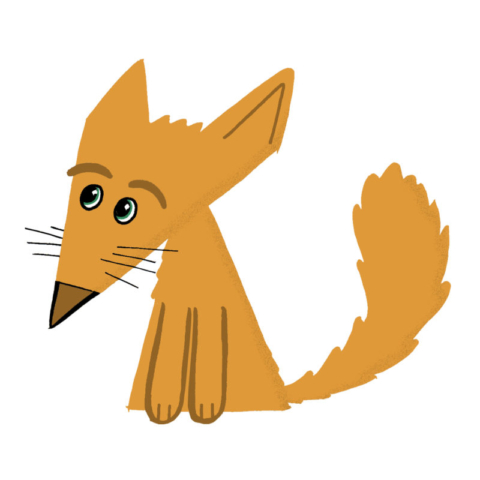A fox character based on triangles