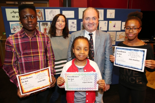 The winners proudly holding their certificates with Deputy Leader of the Council, Councillor Wingfield, and Emily Fellah
