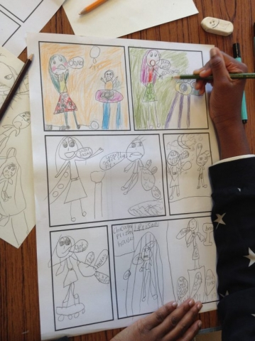 Comic strip creation at a workshop