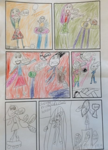 A colourful comic strip created by a pupil.