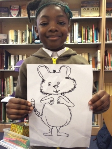 Girl with her Ishmael Mouse drawing
