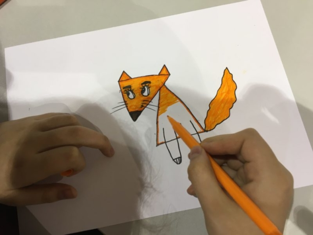 Creation of a fox based on triangles