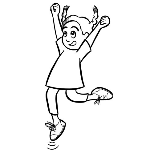 Black and white book illustration of a girl leaping with joy
