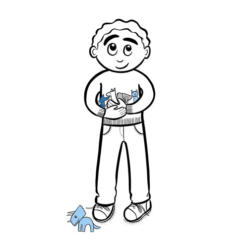 Illustration of a little boy holding toy animals