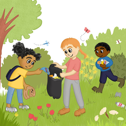 Three children in a wild area of a park collecting rubbish