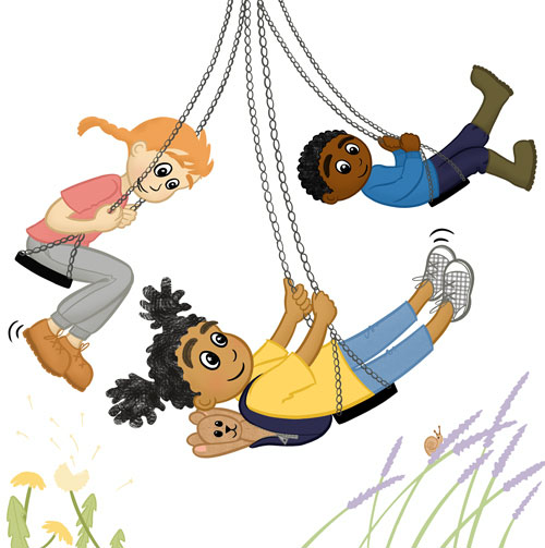 Three children happily playing on the park swings