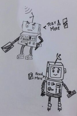 A villain robot and his hero enemy created during my comics workshop