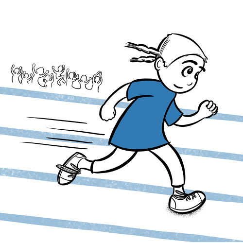 Black and blue illustration of a girl running on a track with people cheering in the background