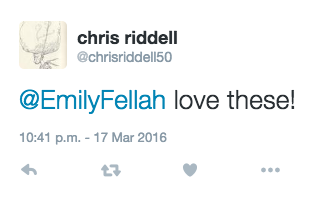 Chris Riddell's tweet about the Arts Award group's version of his characters