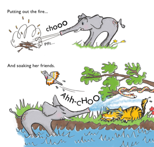 Page 2 of 'Sneezy the Elephant and the Menacing Monkeys', where Sneezy accidentally puts out the fire and soaks her friends.