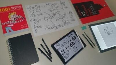 Author and illustrator Emily Fellah's desk