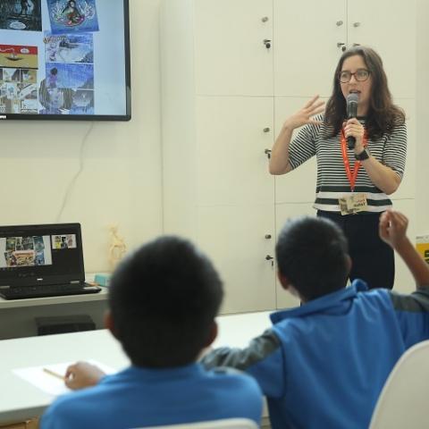 Emily running an illustration workshop at Sharjah International Bookfair