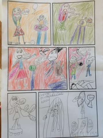A colourful comic strip created by a pupil