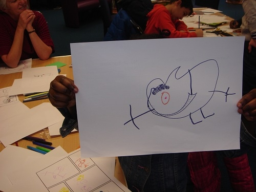 A character created during a drawing game