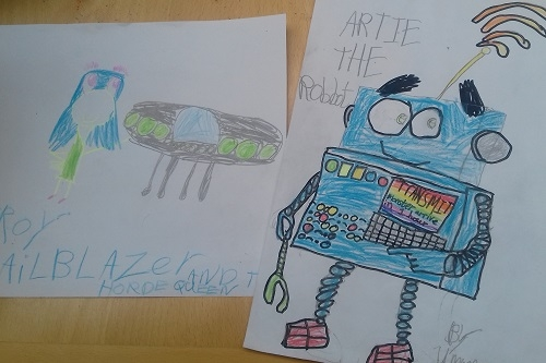 Characters created during Emily's space-themed workshop