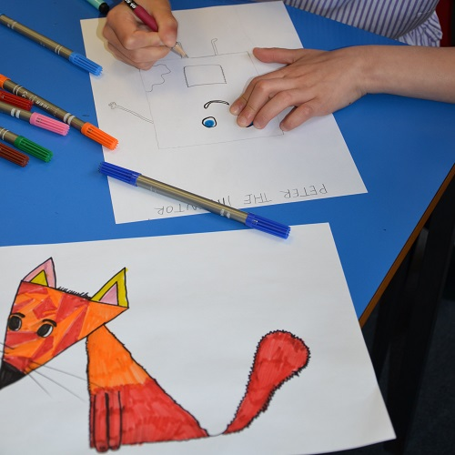 A year 3 pupil creating their own character
