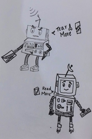 A villain robot and his hero enemy created during Emily's comics workshop